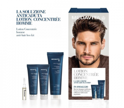 """""""A toolkit for every man who wants to fight hair loss energetically"""" A male anti-hair loss* programme that stimulates new growth, reinforces the anchorage of the hair and lengthens its lifespan thanks to a pool of active ingredients of plant origin. The formula is enriched with Serenoa repens to fight 5alpha-reductase and transform the testosterone into dihydrotestosterone that is responsible for androgenetic alopecia. MEDAVITA LOTION - CONCENTREE HOMME: Take it home for $85"""